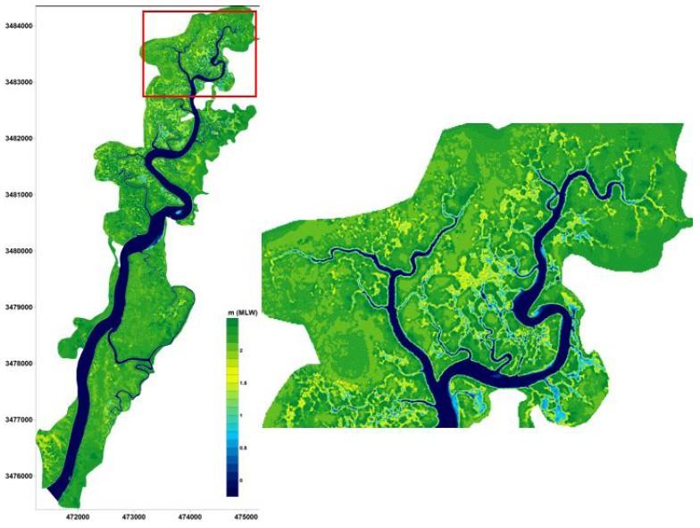 Figure 4: Digital elevation model of the intertidal area surrounding the Duplin