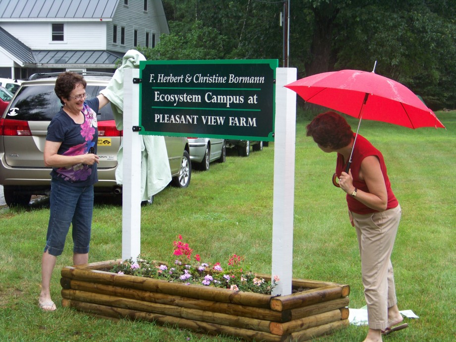 Amy and Becky Bormann unveil a sign at HBR