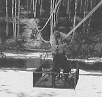 The basket-pulley system used to cross the Chatanika River