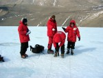 Drilling Cryoconite holes on a glacier in Taylor Valley
