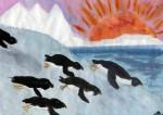 """Adelie penguins sliding on the ice under the setting sun."""