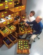 Drs. Dan Richter, r, and Michael Hofmockel, l, examine the Calhoun Soil Archive