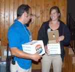 ASM George and Jamie with experiment vote boxes