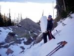 Danielle Perrot digs snow