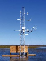 Flux tower set up showing the base enclosure for the battery bank